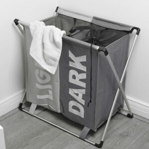 Large 2 Section Laundry Washing Clothes Bag Hamper Sorter Folding Organiser Rack