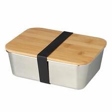 Echtwek Lunchbox Brotdose Edelstahl mit Bambusdeckel und Silikonband B-Ware