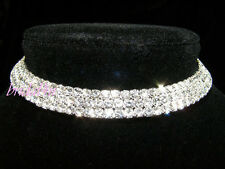 3 Rows Bridesmaid Prom Flower Girl Simulated Diamond Choker 10mm Party  BN039
