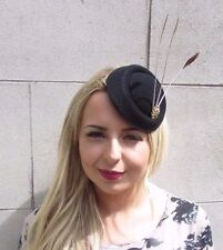 Black Gold Brown Feather Pillbox Hat Hair 1940s Fascinator Races Vintage 3115