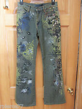 MISS JNY Painted Denim Blue Jeans Art to Wear Abstract Jennyfer Sz 10 EUC