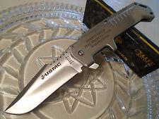 Elite Tactical USMC Licensed Silver Warlord Folding Bowie Pocket Knife 440C 2010