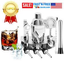 12x Home Cocktail Shaker Set Stainless Steel Bartender Kit Drink Mixing Bar J4