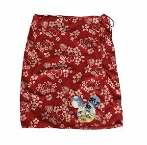 Disney Store Womens XL Red Wrap Skirt Floral Hawaiian Tropical Mickey Minnie
