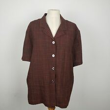 Sag Harbor Woman Brown XL Button Down Blouse Front Pockets Button on Back