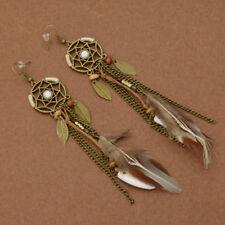 Dream Catcher Feather Drop Earrings Vintage Bohemian Women Jewelry Ear Studs