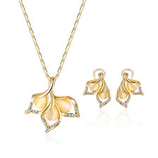 Women Gold Plated Crystal Wedding Flower Necklace Pendant Earrings Jewelry Sets