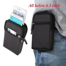 Double Cell Phone Cloth Pouch Waist Bag Belt Clip Holster Case Pack Accessories