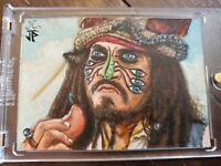 Pirates of the caribbean Jack Sparrow Artist Sketch Card 1/1 Rare Jack Hai &...
