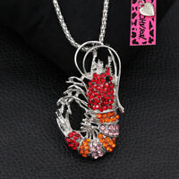 Betsey Johnson Crystal Rhinestone Cute Lobster Pendant Chain Necklace/Brooch Pin
