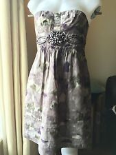 BCBG Anthropologie Silk Lavender Purple Applique Waist Holiday Dress Sz4 $350