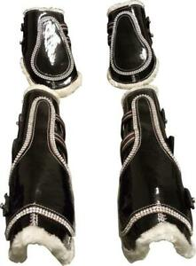 Black-Bling Faux Patent Leather Tendon/ Fetlock Boots with Fur lining-Set of Fou