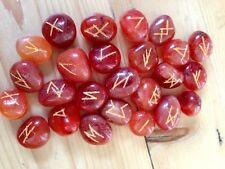 CARNELIAN GEMSTONE RUNE STONES DIVINATION ORACLE CRYSTAL SET POUCH WICCA PAGAN