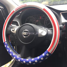 38CM 15 Inch USA American Flag  Leather Steering Wheel Cover No odor