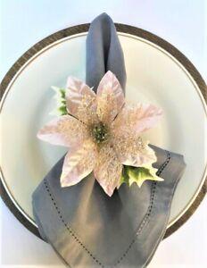 4pc Handmade Christmas Napkin Rings with Light Pink Glittered Poinsettia Flower