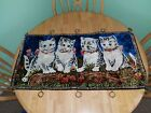 "Vintage Velvet Tapestry Wall Hanging Rug Kittens Cats 26.5""x18.5"""