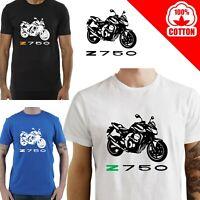 T-Shirt KAWASAKI Z 750 uomo Maglia moto nera cotone 100% maglietta