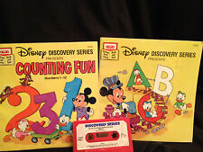 Disney Counting Fun ABC's Read Along Books Cassette Tape Toys Children Learning