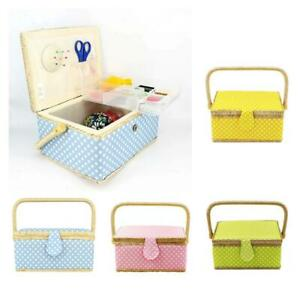 Large Fabric Polka Dot Sewing Storgae Basket Organizer Box Jewelry Organizer