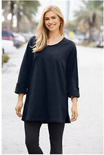 4X 28/30 NWT ULLA POPKEN RAGLAN ROLL SLEEVE KNIT TUNIC NAVY BLUE - LAST ONE!