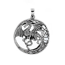 925 solid Sterling Silver Celtic Dragon in circle New Design pendant