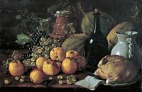 Still Life Apples Grapes Jug by Luis Egidio Meléndez. Wall Art  11x17 Print