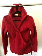 Next Ladies Red Wrap-over Hooded Winter Wooly Cardigan Size M