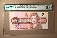 Canada BC-55cA-i 1986 $2 Thiessen | Crow S/N EBX - CBNC - Replacement PMG 67 EPQ