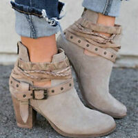 Hot Women's Ankle Martin Boots Block High Heel Metal Buckle Belt Round Toe Shoes