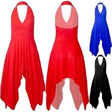Women Ladies V Plunge Halter Neck Sleeveless Backless Hanky Hem Midi Swing Dress