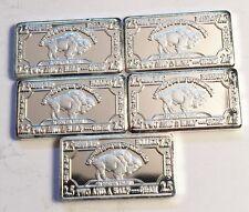 "5 x 2.5 gram German Silver ""USA Buffalo"" Ingots (No Capsules) Total 12.5 Grams"
