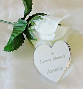 Personalised Funeral Heart Favours x20 4cm x 4cm Memorial Keepsakes