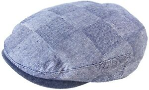 Stetson Chambray & Herringbone Cotton Ivy Cap Check Scally Newsboy Flat Hat
