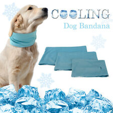 Blue Summer Dog Cooling Collar Instant Ice Cold Scarf  Breathable Bandana S M L