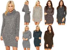 Knee Length Cowl Neck Solid Dresses for Women