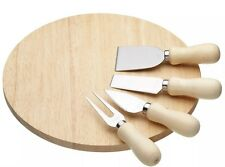KitchenCraft New Round Wooden Cheese Board & Knife Serving Set