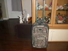 Atlantic Vintage Trolley Wheels Upright Luggage Green Floral Tapestry Carry On