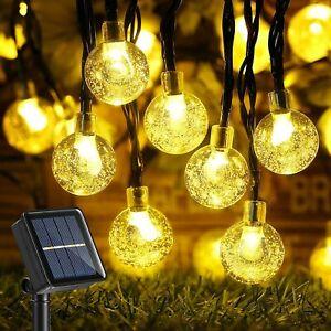 50LED Solar Kugel Lichterkette Garten Außen Outdoor Beleuchtung Lampe PartyLicht