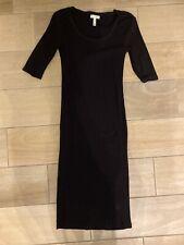 Leith Black Bodycon Midi Dress Elbow Sleeve Scoop Neck Size S Small NWT