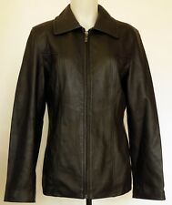Winlit Black Buttery Soft Leather Lined Fitted Dressy Jacket with Zip Front M