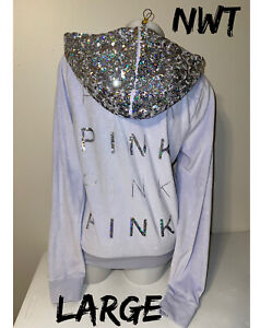 NWT Victoria Secret Pink Mega Bling Iridescent Sequin Velour Jacket Hoodie L