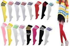3 STRIPES GIRLS LADIES REFEREE SOCKS STRIPED OVER THE KNEE THIGH HIGH LONG SOCKS