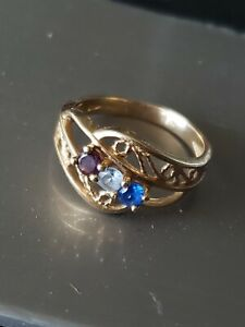 Vintage 14k gold amethyst sapphire aquamarine gemstone filigree ring sz 10