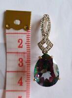 Large 9ct Gold Mystic Topaz And Diamond Pendants