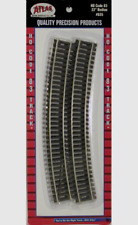 """Atlas #535   22"""" Radius Curved Track (6-pack) HO Scale , Code 83 Rails"""