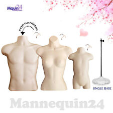 Male Female Toddler Torso Dress Form Set + 3 Hangers +1 Stand - Flesh Mannequins