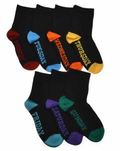 Boys 5 Pairs Cotton Rich Socks Week Day Monday to Friday Socks Black