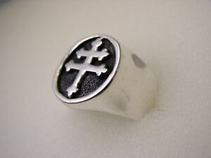 Magnum PI (Cross of Lorraine) Ring, Silver Plated, Sizes 9 10 11 12 13 14 15