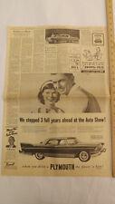 VTG 1957 Plymouth Belvedere Milwaukee Journal Auto Show Newspaper Ad