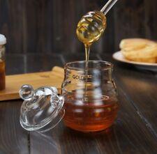 Pro 250ml Kitchen Glass Honey Pot Set Transparent Jam Jar with Dipper Lid 5.7''